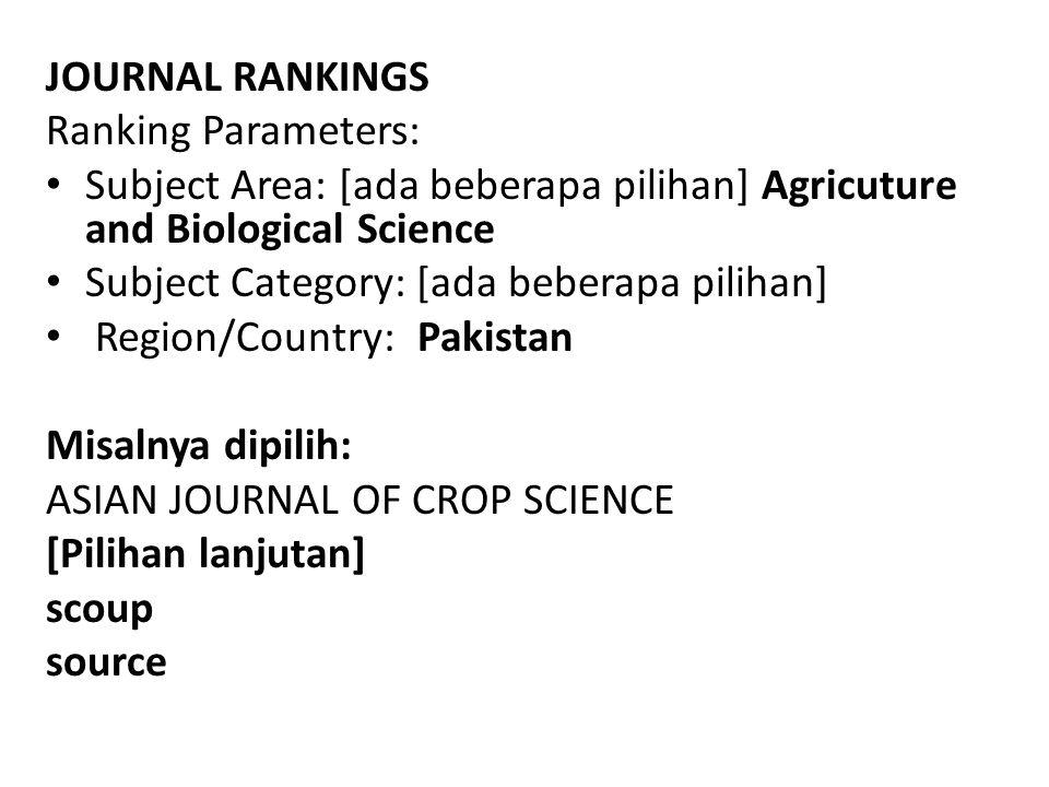 JOURNAL RANKINGS Ranking Parameters: Subject Area: [ada beberapa pilihan] Agricuture and Biological Science.